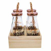set-deco-home-4-botellas-con-caña-base-madera