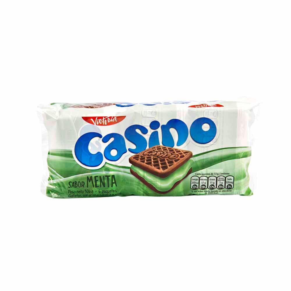 Galletas Casino Rellenas Con Crema Sabor A Menta Paquete 6un