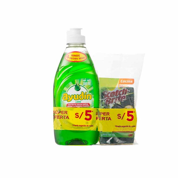 lavavajilla-liquida-ayudin-limon-botella-300ml-esponja-