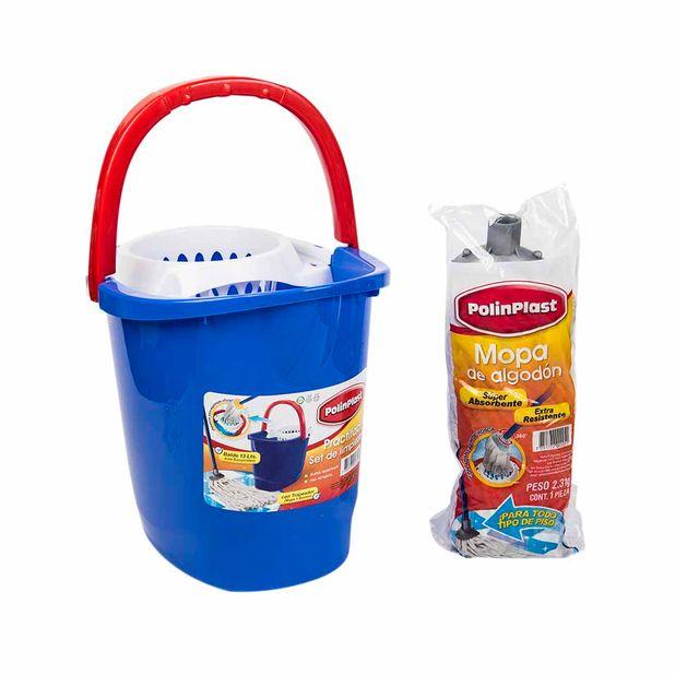 trapeador-polinplast-algodon-super-absorbente-balde-polinplast-13l